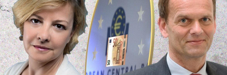Marie-Anne Allier, Managerin des Amundi Bond Euro Aggregate (links), argumentiert gegen Jorgen Kjaersgaard, Manager des AB European Income Portfolio