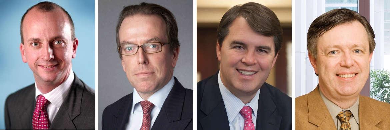 Die Experten der Boutiquen von BNY Mellon Investment Management (IM) von links nach rechts: Ulrich Gerhard, Paul Hatfield, John Bailer und Vincent Reinhart