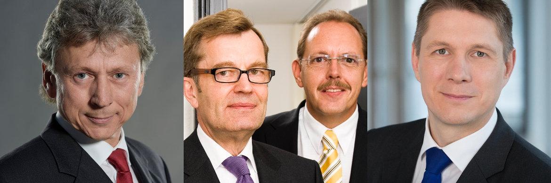 Bert-Ardo Spelter, Gründer und Inhaber der ICFB aus Köln (l.), Ernst Heemann und Ralf de Winder, Gründer der Heemann Vermögensverwaltung aus Gronau sowie Andreas Teichmann, Geschäftsführer der Plückthun Asset Management aus München