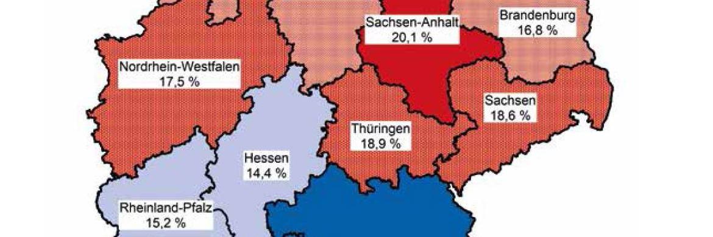 Ausschnitt aus einer Deutschlandkarte mit Armutsquoten der einzelnen Bundesländer © Paritätischer Wohlfahrtsverband