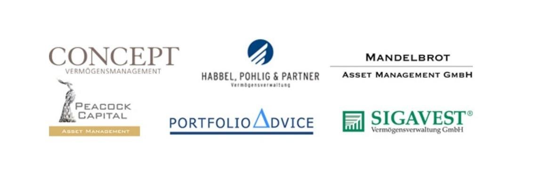 Logos der Fondspartner von Universal-Investment, die ihre Produkte im Rahmen der Champions Tour vorstellen