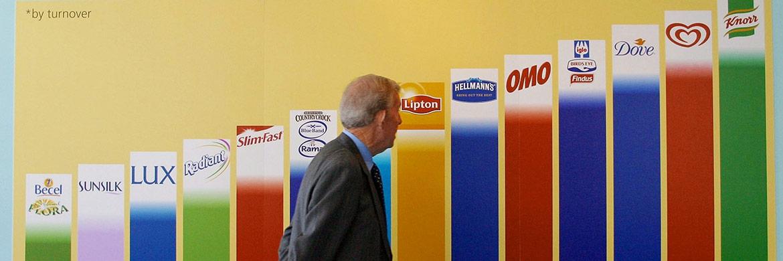 Markentafel der Unilever-Gruppe: Sie stellt eine der größten Positionen im Amundi Funds Equity Europe Conservative Fund dar.|© Bloomberg