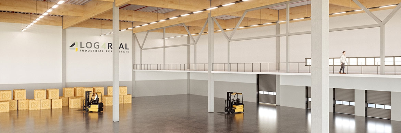 Entwurf einer Lagerhalle: Fugenfreie Böden ermöglichen einen geringeren Energieverbrauch – und damit auch niedrigere Bruttomieten|© Log4Real