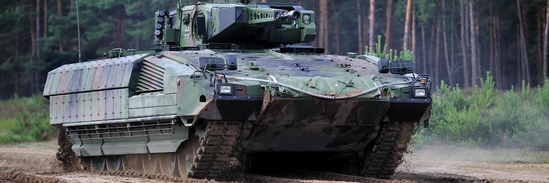 Der luftverladbare Panzer Puma des MDax-Unternehmens Rheinmetall, das mit einer Marktkapitalisierung von knapp 3 Milliarden Euro in der unteren Hälfte der zweiten Börsenliga rangiert|© Rheinmetall