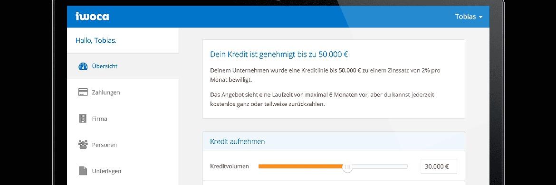 """Screenshot der Online-Plattform """"instant working capital"""" (iwoca), über die bis heute mehr als 200 Millionen Euro an kleine und mittlere Unternehmen sowie Selbstständige verliehen wurden. Das europaweit tätige Start-Up für alternative Unternehmensfinanzierung ist seit 2015 auch in Deutschland aktiv, wo die Fidor Bank als Partner die Finanzierung der Kredite übernimmt."""