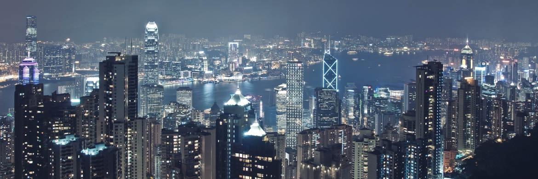 Blick auf das nächtliche Hongkong