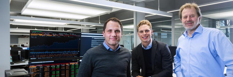 Gründer von Scalable Capital Florian Prucker, Erik Podzuweit und Stefan Mittnik (v. li.)