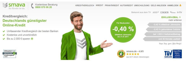 Screenshot der Smava-Homepage mit dem Angebot