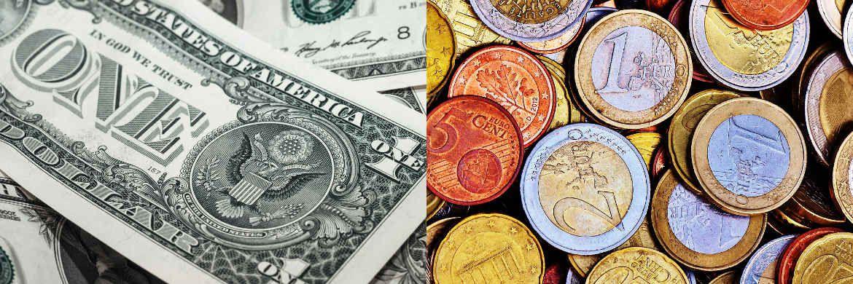 Dollar-Scheine und Euro-Münzen|© pixabay.com