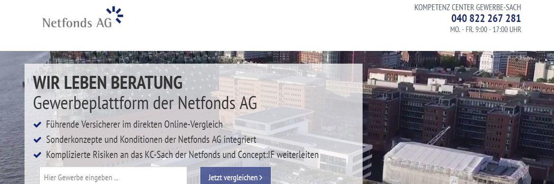 Screenshot der digitalen Gewerbeplattform, die auf einer Kooperation mit der Frankfurter Gewerbeversicherung24 Vergleichsportal GmbH basiert|© Netfonds AG