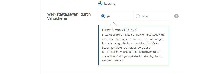 Im Kfz-Vergleich fragt Check24 unter anderem ab, ob im Leasing-Vertrag Werkstattbindung vereinbart ist.|© Screenshot Check24