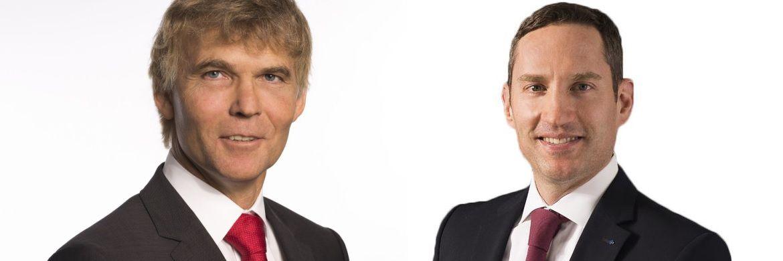 Der bisherige Basler-Vorstand Markus Jost (li.) und sein Nachfolger Maximilian Beck