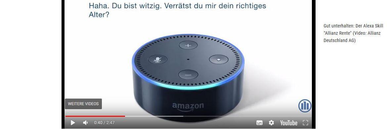 Die Allianz erklärt in einem Youtube-Video, wie der Dialog mit Alexa in der Praxis aussehen kann: Humor ist dabei offenbar ein wichtiges Stilmittel. |© Screenshot von allianzdeutschland.de
