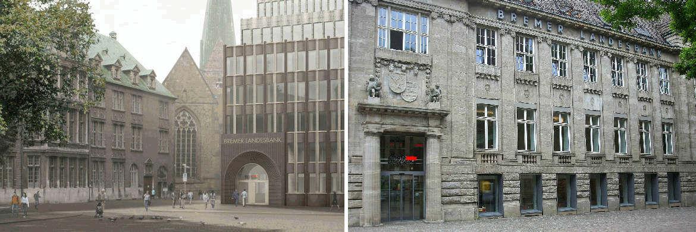 BLB-Gebäude am Domshof in Bremen (l.) und am Markt in Oldenburg: Die Bremer Landesbank und Nord/LB haben sich am 1. September zusammengeschlossen.|© Bremer Landesbank (BLB)