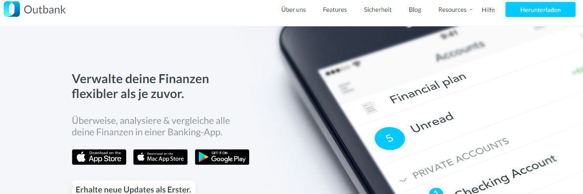 Screenhot der Outbank-Homepage | © Outbank