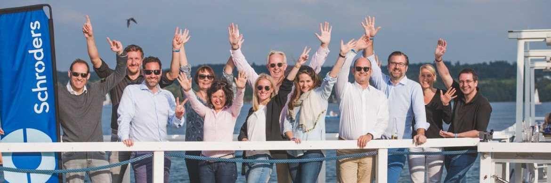 Das Frankfurter Schroders-Team freute sich bei schönstem Wetter auf einen tollen Tag mit Freunden und Geschäftspartnern.|© Schroders