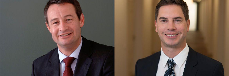 Robert Weiher (l.), Generalbevollmächtigter und Mitgründer der V-Bank, verlässt das Unternehmen zum Jahresende. Florian Grenzebach übernimmt seine Aufgaben als Leiter Vertrieb und Kundenbetreuung.|© V-Bank