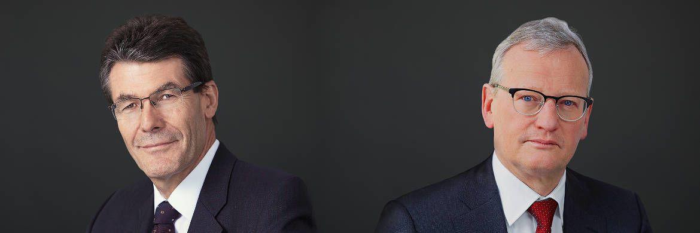 Sitzen in der Chef-Etage der Sustainable and Thematic Boutique von Vontobel AM: Investmentchef Hans Speich (links) und Leiter des Geschäfts Andreas Knörzer|© Vontobel AM