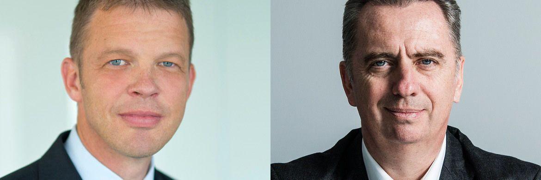 Christian Sewing (l.), stellvertretender Vorstandsvorsitzende der Deutschen Bank und Nicolas Moreau, Vorstandsmitglied der Deutschen Bank und Chef der Deutschen Asset Management. |© Fotos. Deutsche Bank