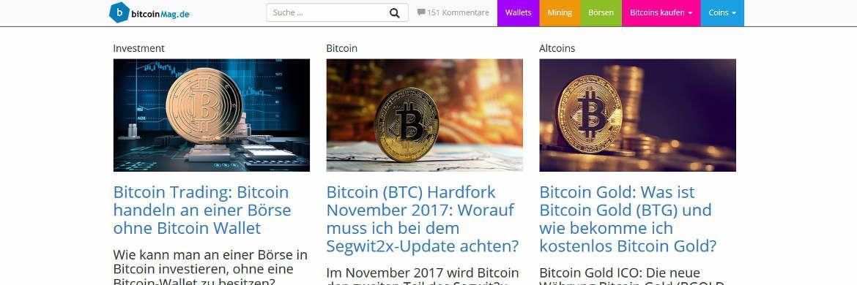 Von Investor übernommen: Das Info-Portal Bitcoinmag.de.|© Screenshot, DAS INVESTMENT