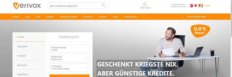 Screenshot der Verivox-Homepage: Das Vergleichsportal will Fintechs Konkurrenz machen.