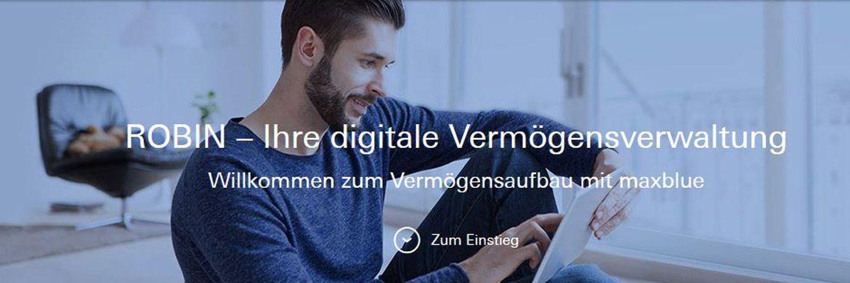 Screenshot des Internetauftritts von Robin: Die digitale Vermögensverwaltung der Deutschen Bank ist jetzt live.|© maxblue.de