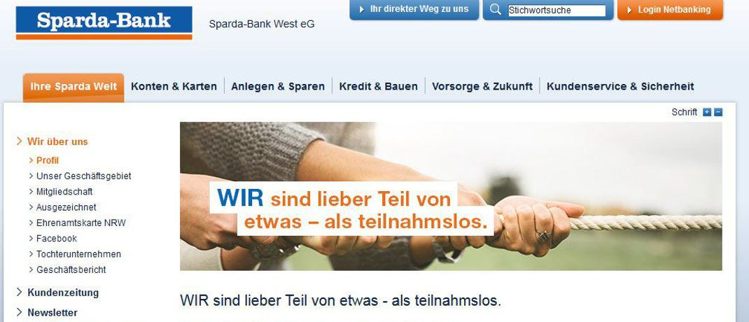 Screenshot der Internetseite der Sparda-Bank West. Das Institut aus dem genossenschaftlichen Verbund will sich mit der Sparda-Bank Münster zusammenschließen.|© Sparda-Bank West