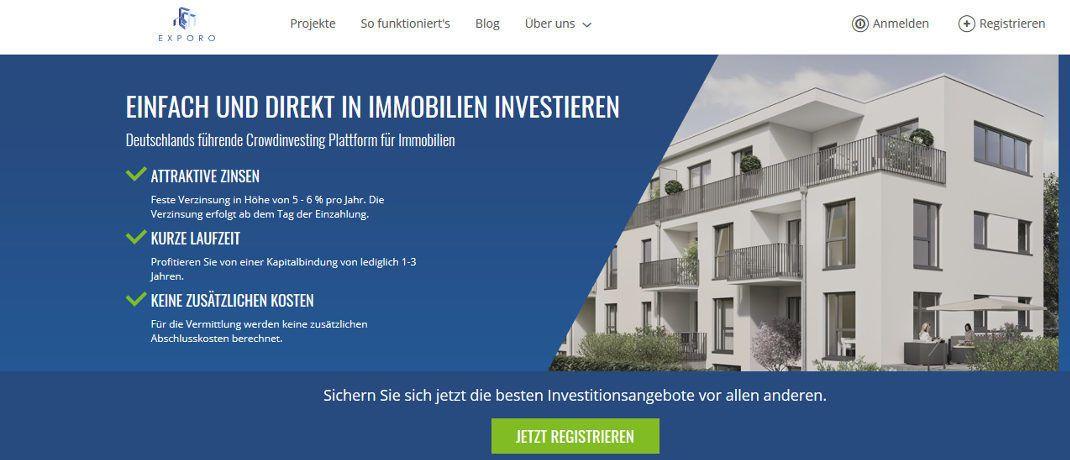 Startseite von Exporo: Die Immobilien-Crowdfunding-Plattform ergatterte Platz 3 im Gründerszene Wachstums-Ranking.|© Exporo