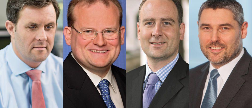 Thorsten Paarmann und Michael Fraikin, Nick Price und Gunther Kramert (v.l.): Die Flaggschiffe dieser Fondsmanager zählen zu den zehn größten Fonds mit einem aktuellen Upgrade bei der Rating-Agentur Scope.