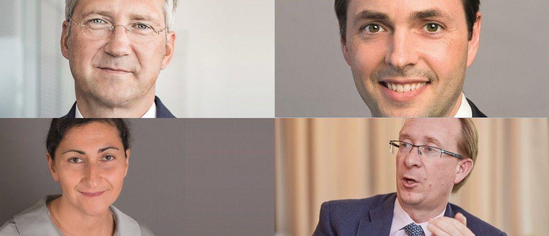 Fandsmanager Bert Flossbach, Flossbach von Storch; Morgan Harting, AB; Richard Woolnough, M&G; Rose Ouahba, Carmignac (im Uhrzeigersinn, links oben beginnend)