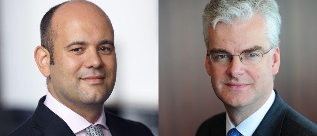 Carlos Böhles (l.), Leiter institutionelles Geschäft bei Schroders in Frankfurt am Main, und Charles Prideaux (r.), Head of Solutions bei Schroders in London