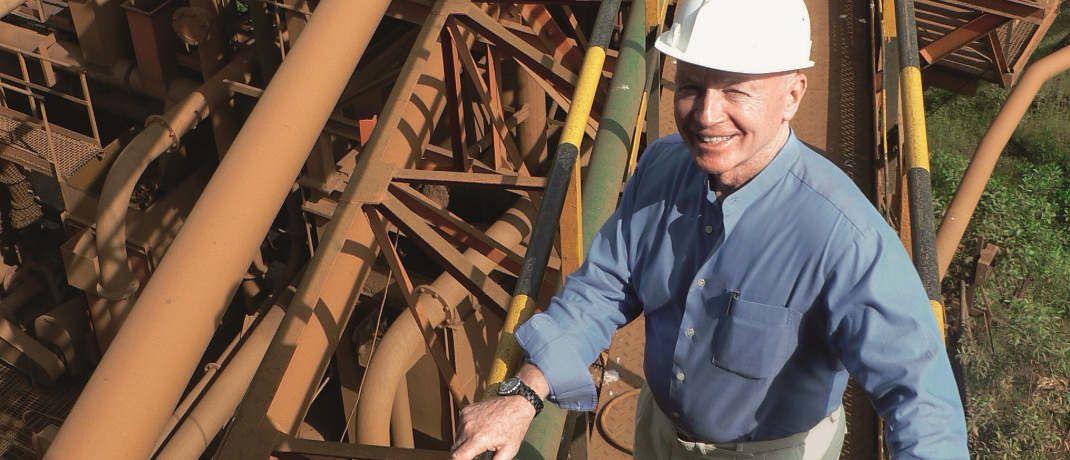 Mark Mobius im Jahr 2007 auf einer Förderanlage des indischen Minenunternehmens Sesa Goa.|© Franklin Templeton