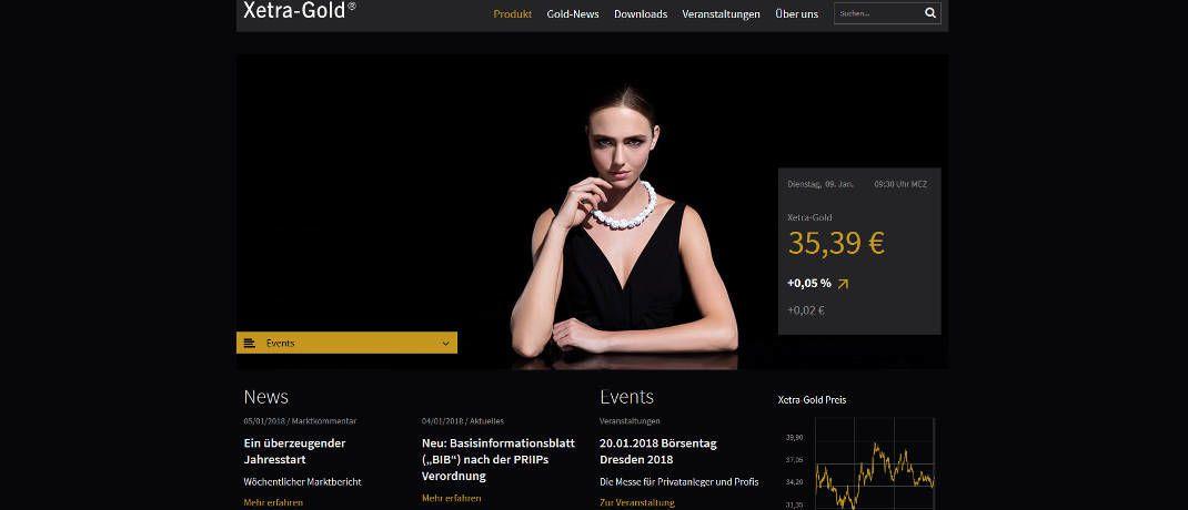 Webseite von Xetra-Gold|© Screenshot, DAS INVESTMENT