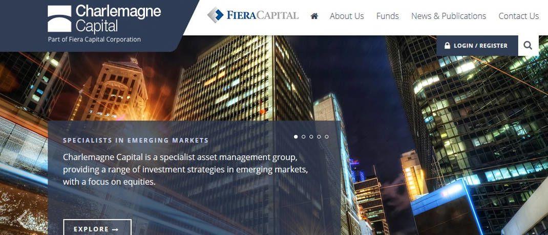Screenshot der Internetseite. Charlemagne Capital heißt jetzt Fiera Capital. © Fiera