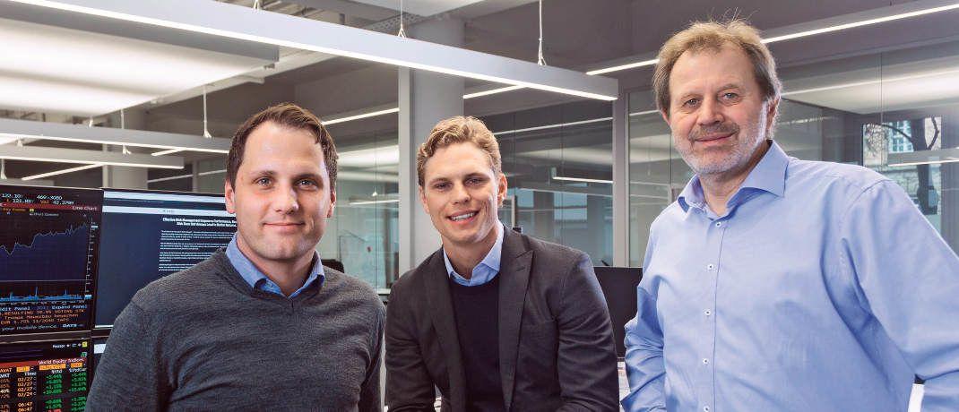 """Die Gründer von Scalable Capital (v.l.n.r.) Florian Prucker, Erik Podzuweit und Stefan Mittnik: """"Die Schweiz ist für jeden Vermögensverwalter ein interessanter Markt."""" © Scalable Capital"""
