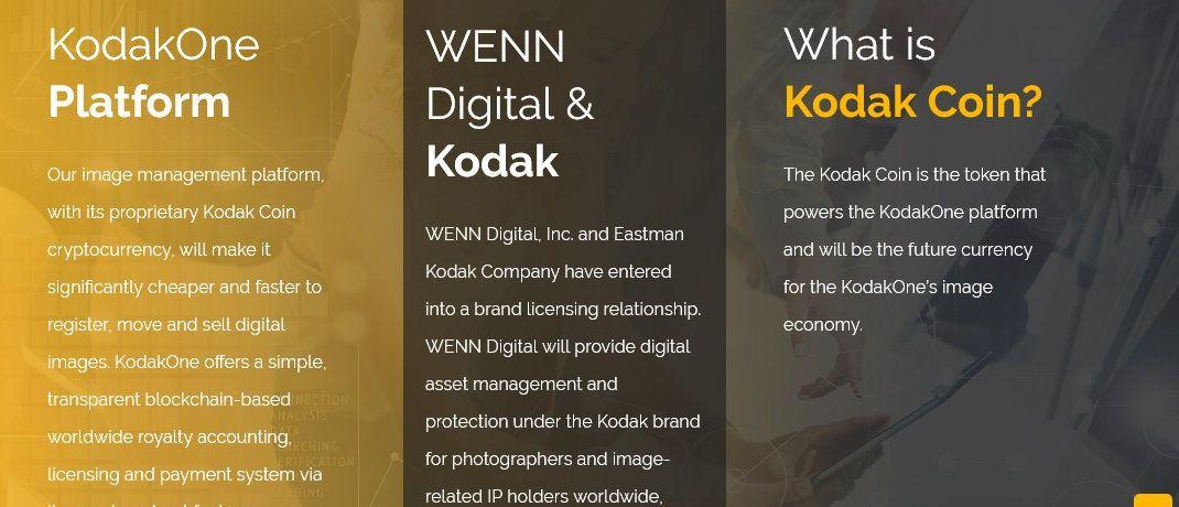 Screenshot der Internetseite von Foto-Spezialist Kodak. Das Unternehmen plant eine eigene Kryptowährung aufzulegen.|© Kodak