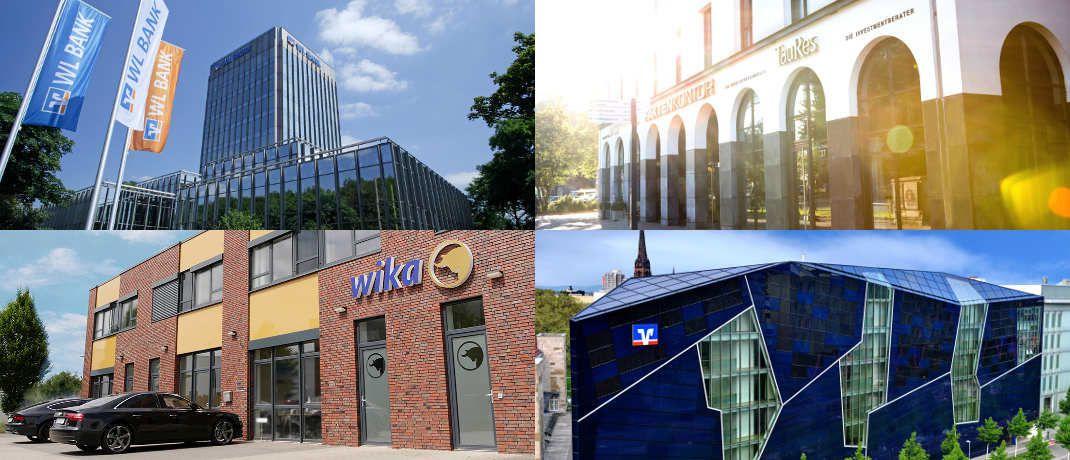 Collage mit Fotos von vier der 20 besten Finanz-Arbeitgeber aus dem Mittelstand im Ranking