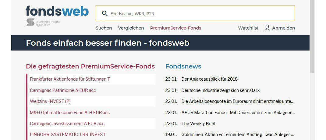 Screenshot der Fondsweb-Startseite: Neben dem Webauftritt erhielt auch das Logo des Portals ein neues Design.|© Fondsweb