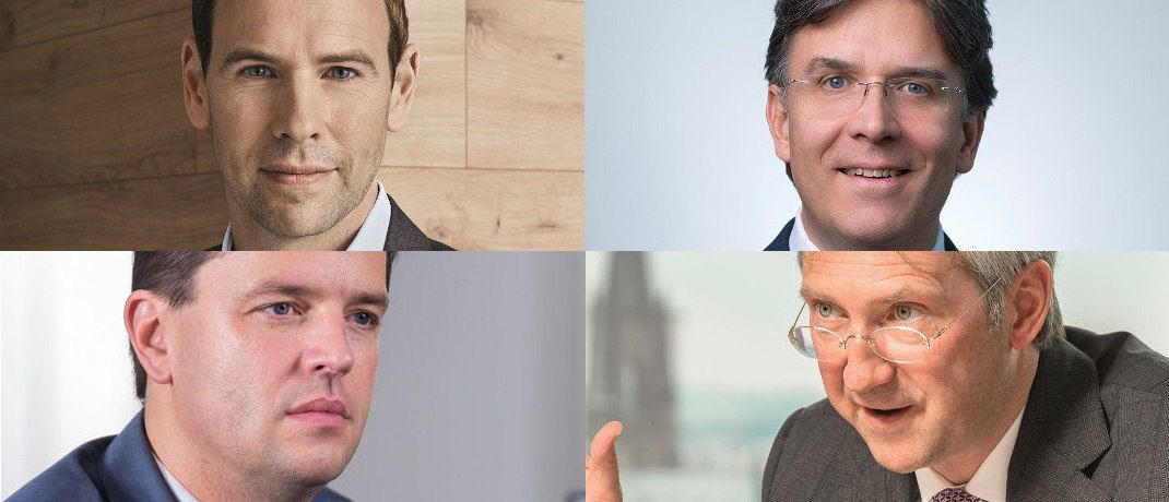 Jan Ehrhardt, DJE Kapital; Frank Fischer, Shareholder Value Management; Bert Flossbach, FvS; Markus Wedel, SPSW Capital  (v. li. oben im Uhrzeiger). | © DJE Kapital, Shareholder Value Management, FvS, SPSW Capital