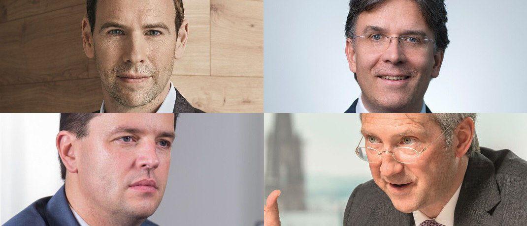 Jan Ehrhardt, DJE Kapital; Frank Fischer, Shareholder Value Management; Bert Flossbach, FvS; Markus Wedel, SPSW Capital  (v. li. oben im Uhrzeiger).|© DJE Kapital, Shareholder Value Management, FvS, SPSW Capital