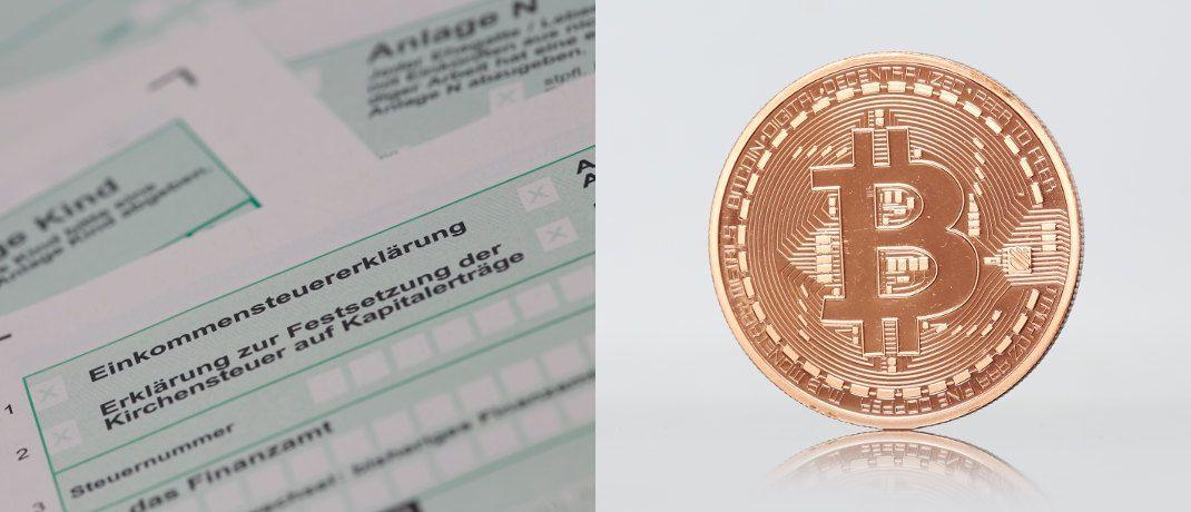 Einkommensteuererklärung und Bitcoin-Münze: Wie Kryptowährungen bei der Steuer anzugeben sind, erklärt Andreas Patzner, Partner beim Wirtschaftsprüfungs- und Beratungsunternehmen KPMG.|© Tim Reckmann / <a href='http://www.pixelio.de/' target='_blank'>pixelio.de</a>
