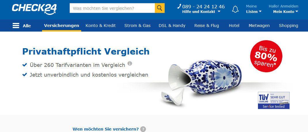 Die Website von Check24: Das Vergleichsportal muss nun ein Ordnungsgeld in Höhe von 15.000 Euro zahlen.|© Check24