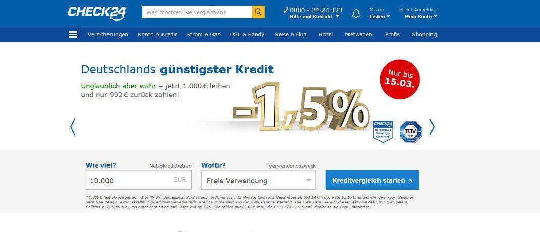 Screenshot der Startseite von Check24. Die Vergleichs- und Vermittlerplattform bietet einen Verbraucherkredit zu Negativzinsen an.|© Check24