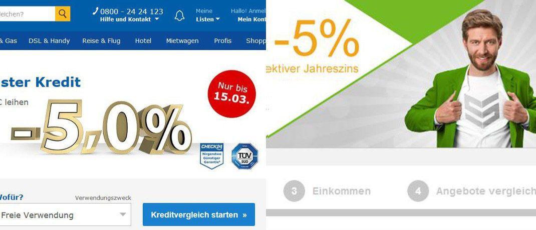Screenshot der Internetseiten: Check24 und Smava mit Kreditangeboten zu -5 Prozent Negativzinsen. |© Check24, Smava