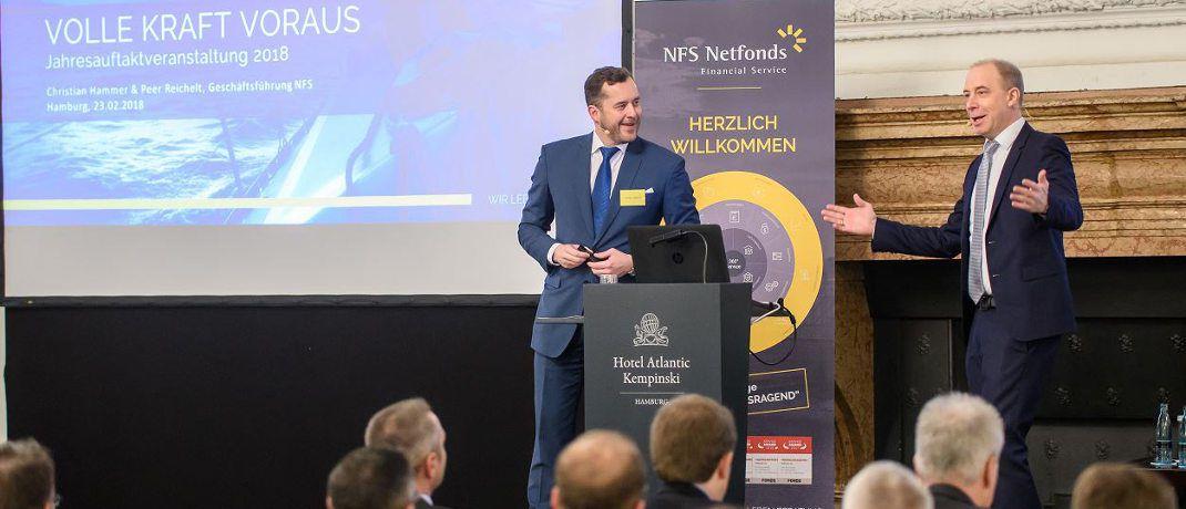NFS-Geschäftsführer Christian Hammer (li.) und Peer Reichelt eröffneten die Veranstaltung.|© NFS Netfonds
