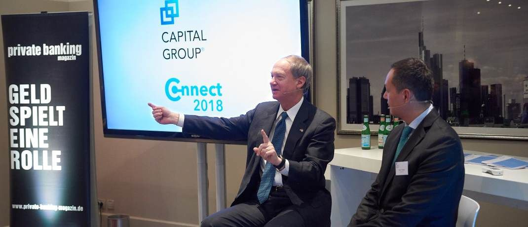 "John Emerson (l.), ehemaliger US-Botschafter unter der Obama-Administration in Deutschland und Thiemo Volkholz (r.), Managing Director Capital Group bei der Veranstaltung ""Capital Group Connect 2018"" am 15. Februar in der Villa Kennedy in Frankfurt 