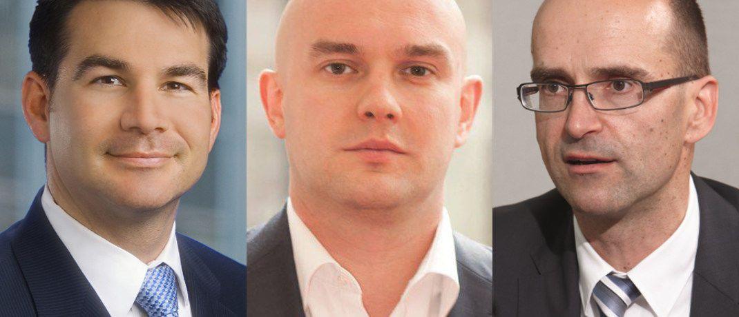Die Fondsmanager Robert Cook, Ian Kelly und Andre Köttner (von links nach rechts) verantworten die drei größten Fonds im Ranking.|© JP Morgan AM, Schroders, DWS