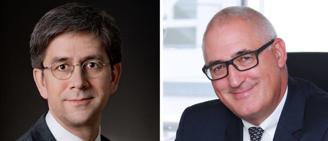 Michael Morgenstern (links) und Stephan Schinnenburg übernehmen die Vorstandsposten Finanzen (Morgenstern) und Vertrieb bei der Deutschen Familienversicherung.|© Deutsche Familienversicherung