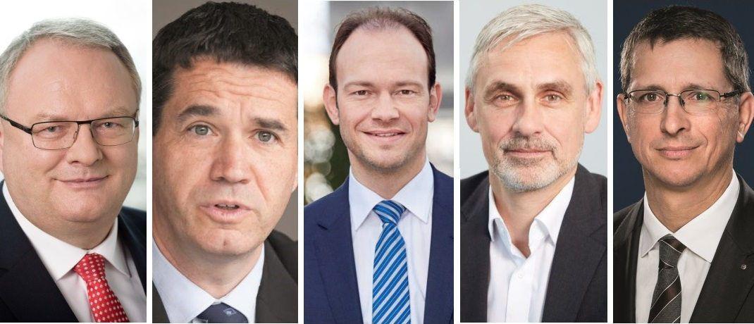 Haben bei der Umfrage mitgemacht (von links): Hans-Georg Jenssen (BDVM), Oliver Pradetto (Blau Direkt), Markus Kiener (Fonds Finanz), Dirk Bohsem (MLP) und Norman Wirth (AfW). © VDVM, Fonds Finanz, Blau Direkt, MLP, AfW|© BDVM, Florian Sonntag, Fonds Finanz, MLP, AfW