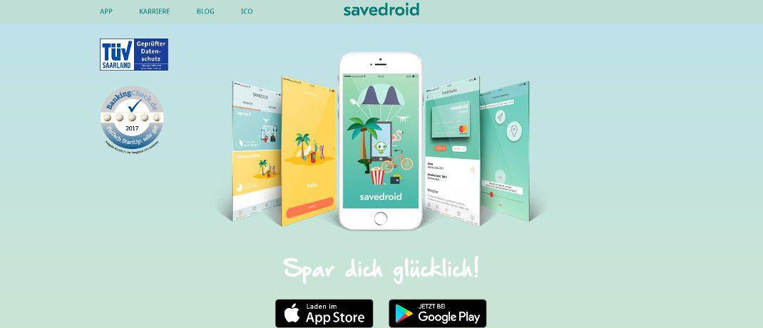 Screenshot der Internetseite von Savedroid. Das Fintech-Start-up war ursprünglich angetreten, um das Sparen auf spielerischem Wege für seine Kunden attraktiver zu machen.|© Savedroid